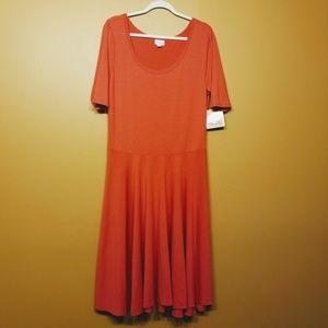 LuLaroe | Coral Nicole Ringer Dress (Size 2XL)